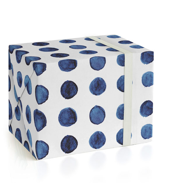 This is a blue wrapping paper by Michelle Locklear called Indigo Love_Organic Dots.