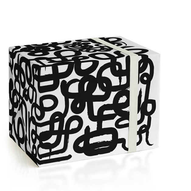 This is a black and white wrapping paper by fatfatin called Find Your Way Home II.