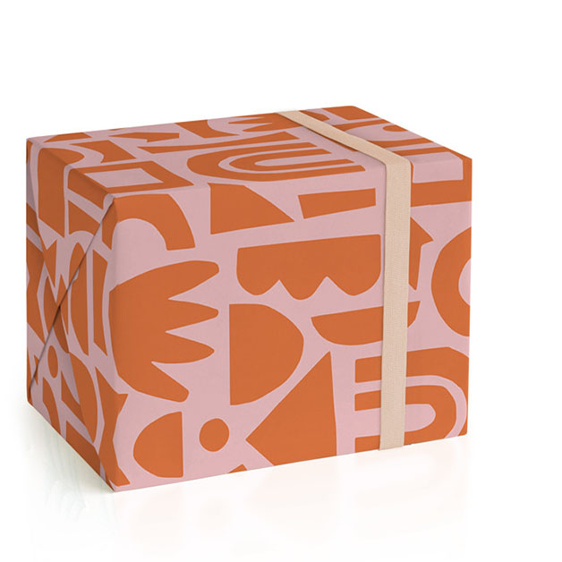 This is a pink wrapping paper by Ampersand Design Studio called Shape Play.