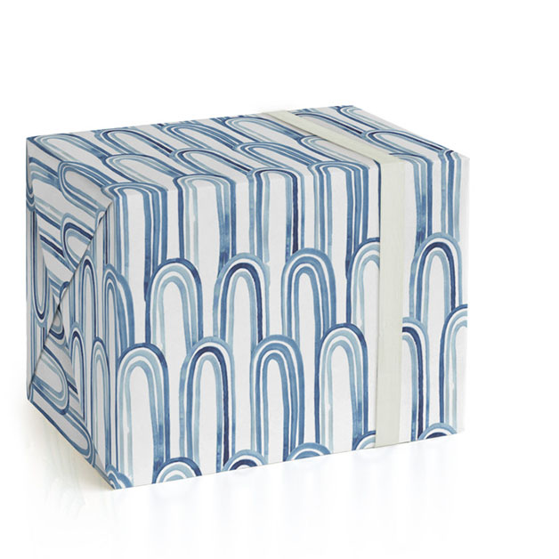 This is a blue wrapping paper by Katharine Watson called Watercolor Arches.