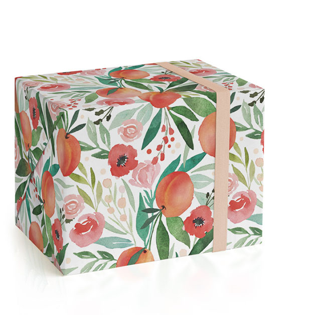 This is a colorful wrapping paper by Kristen Smith called Peachy.