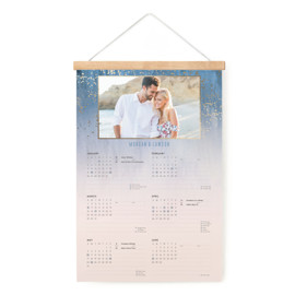 This is a blue hanging bar calendar by Kaydi Bishop called Midsummer Night with foil-pressed printing on signature in one-page calendar.