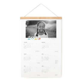 This is a colorful hanging bar calendar by Snow and Ivy called bountiful joy with standard printing on signature in one-page calendar.