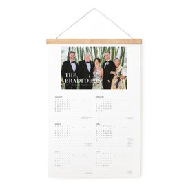 This is a white hanging bar calendar by Jessica Williams called Simple Stack with standard printing on signature in one-page calendar.