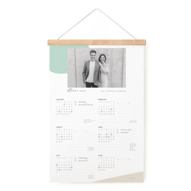 This is a green hanging bar calendar by June Letters Studio called Simple Shapes with standard printing on signature in one-page calendar.