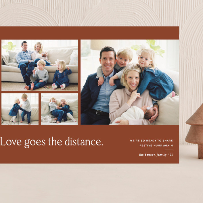 """Love Knows No Distance"" - Modern Grand Holiday Cards in Terracotta by Blustery August."