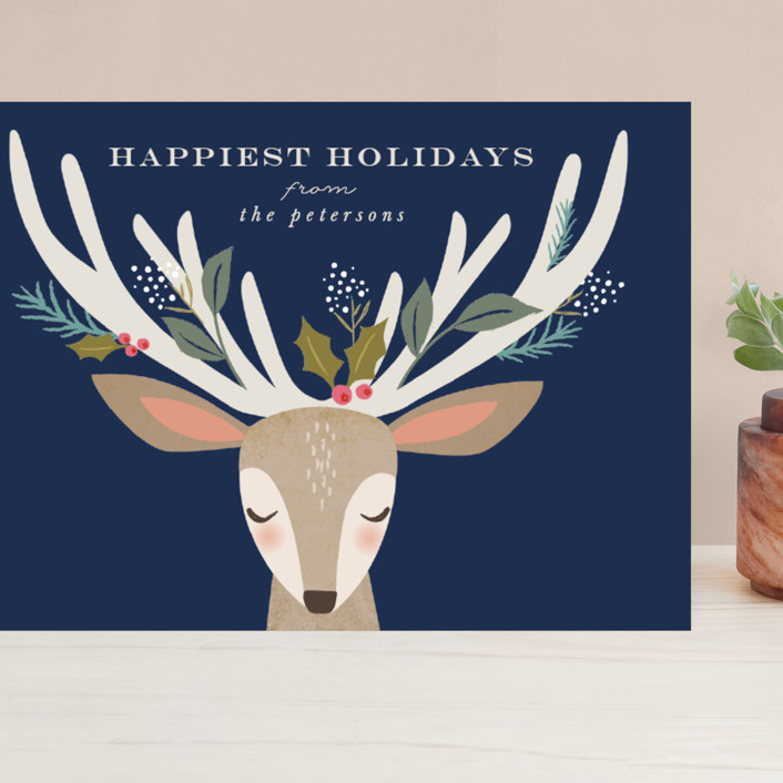 """""""holiday reindeer"""" - Grand Holiday Cards in Atlantic by Karidy Walker."""
