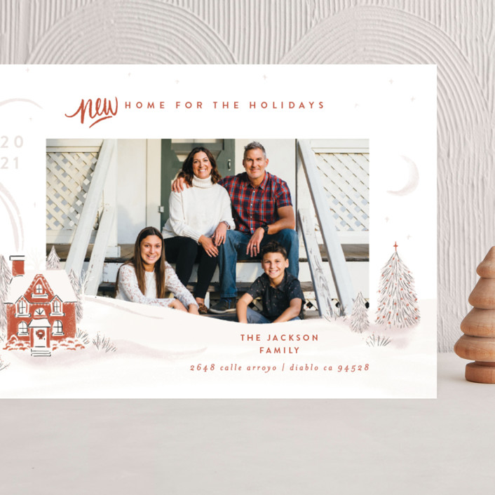 """Vintage Cozy Home"" - Grand Holiday Cards in Pumpkin by Shiny Penny Studio."