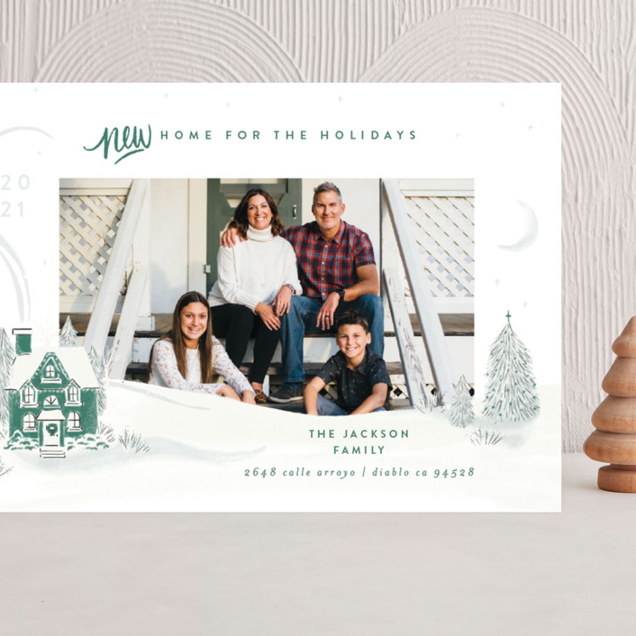 """""""Vintage Cozy Home"""" - Bohemian Grand Holiday Cards in Pine by Shiny Penny Studio."""