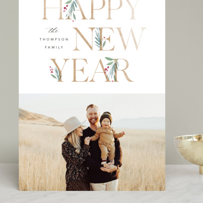 """""""Botanical Swash"""" - Grand Holiday Cards in Snow by Robert and Stella."""