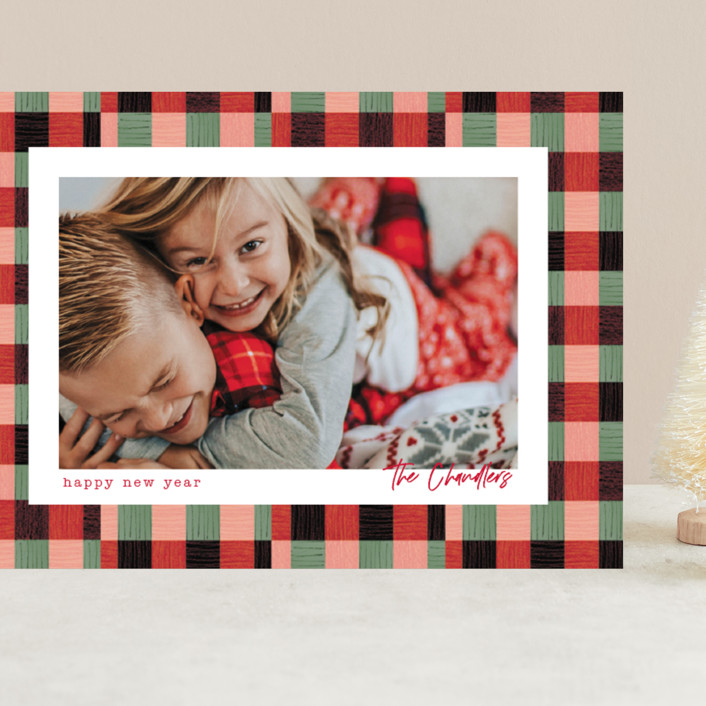 """""""Plaid Pattern"""" - Grand Holiday Cards in Poinsettia by Baumbirdy."""