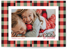 This is a red holiday photo card by Baumbirdy called Plaid Pattern with standard printing on signature in grand.