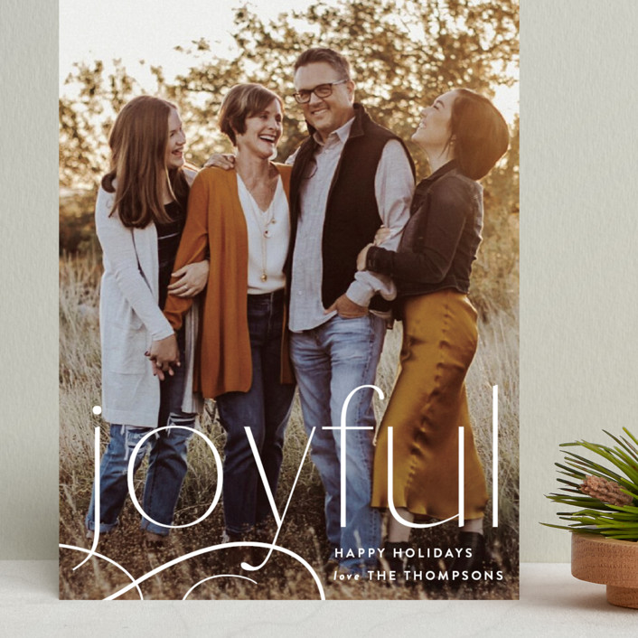 """Still Feeling Joyful"" - Grand Holiday Cards in Linen by Robert and Stella."