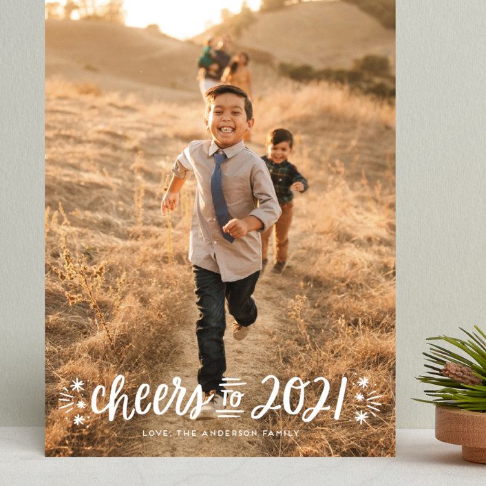 """""""A New Year Cheers"""" - Grand Holiday Cards in Snowfall by Little Print Design."""