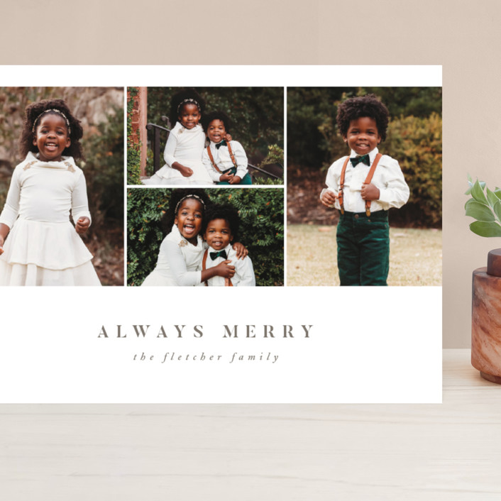 """""""Always Merry"""" - Grand Holiday Cards in Slate by Ink and Letter."""