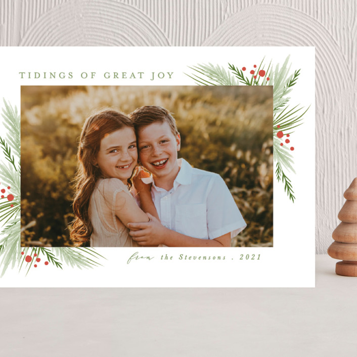"""""""evergreen branches"""" - Grand Holiday Cards in Moss by Karidy Walker."""