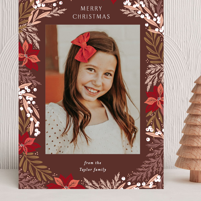 """""""Poinsettia Leaves Pattern"""" - Grand Holiday Cards in Wine by Alethea and Ruth."""