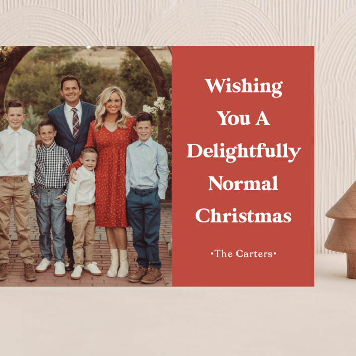 """""""A Normal Christmas"""" - Funny Grand Holiday Cards in Santa Red by GeekInk Design."""