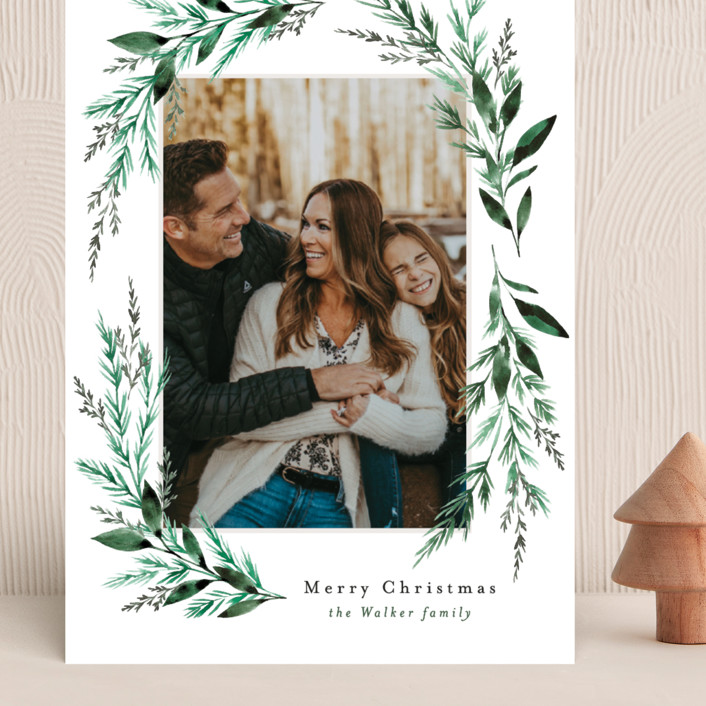 """""""Painted Greenery Swag"""" - Grand Holiday Cards in Snow by Alethea and Ruth."""