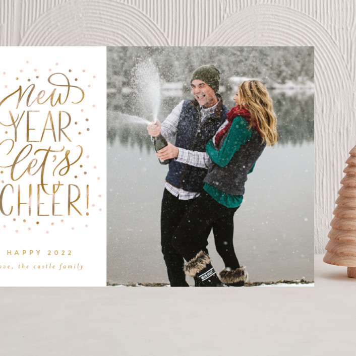 """""""New Year Let's Cheer!"""" - Bohemian Grand Holiday Cards in Champagne by Erin German."""