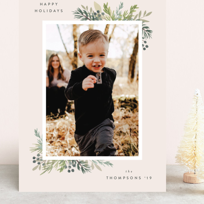 """""""Natural Foliage"""" - Grand Holiday Cards in Petal by Itsy Belle Studio."""