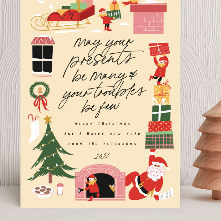 """""""Mister Claus in the Chimney"""" - Bohemian Grand Holiday Cards in Eggnog by Grae."""