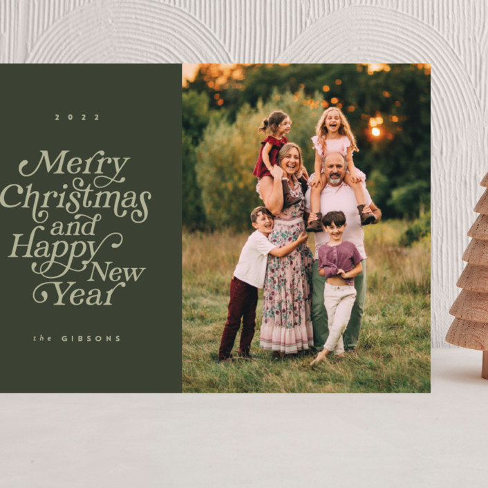"""""""Merry and Happy"""" - Grand Holiday Cards in Olive by Brianne Larsen."""