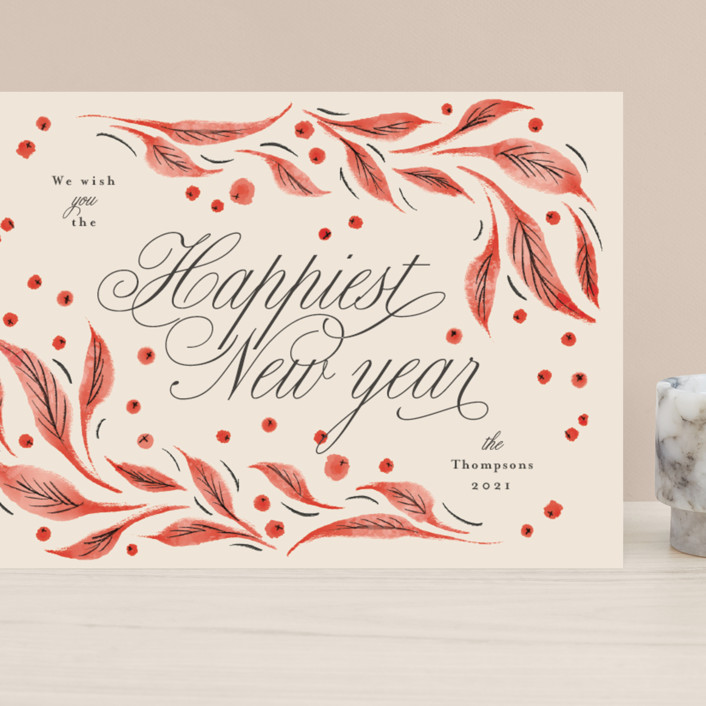"""""""Leaves and berries"""" - Vintage Grand Holiday Cards in Cranberry by Anastasia Makarova."""