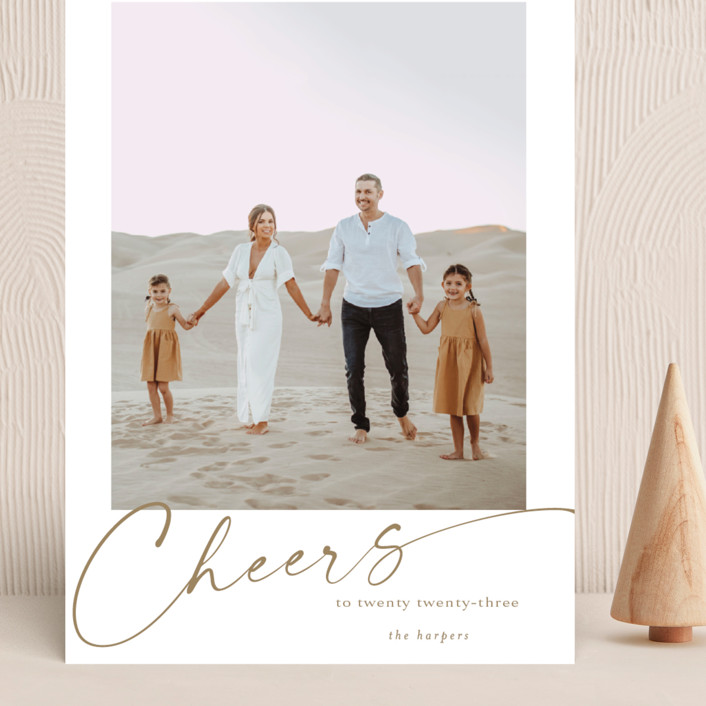 """""""yearly cheers"""" - Grand Holiday Cards in Chestnut by Kasia Labocki."""