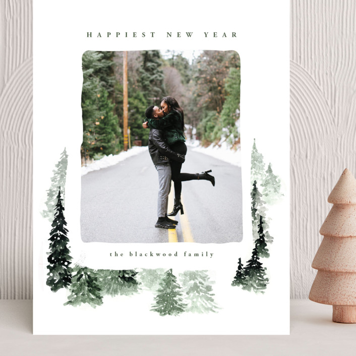 """fall of snow"" - Bohemian Grand Holiday Cards in Evergreen by Anastasia Makarova."