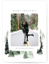 This is a green holiday photo card by Anastasia Makarova called fall of snow with standard printing on smooth signature in grand.