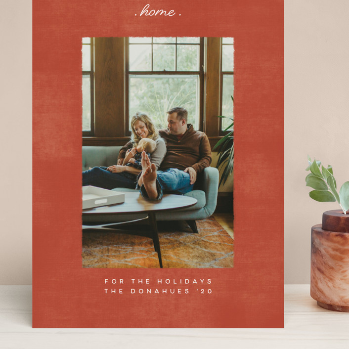 """staying at home"" - Grand Holiday Cards in Brick by Becky Nimoy."