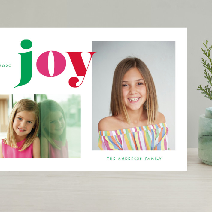 """""""Christmas Time Joy"""" - Grand Holiday Cards in Gumdrop by Little Print Design."""