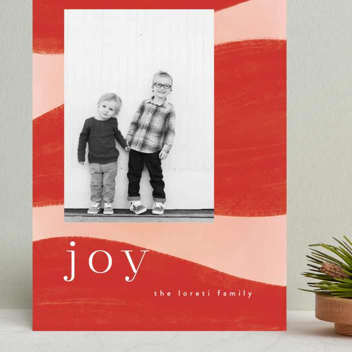 """Joyful Waves"" - Modern Grand Holiday Cards in Blush by Nazia Hyder."