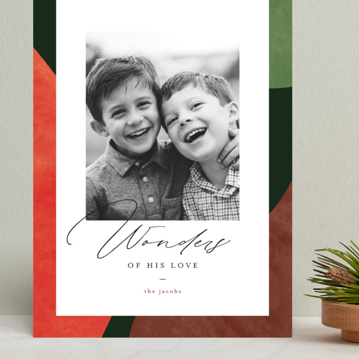 """Colorful Wonders"" - Modern Grand Holiday Cards in Wreath by Pixel and Hank."