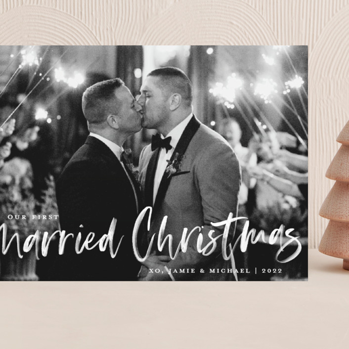 """""""Our First Married Christmas"""" - Grand Holiday Cards in Snow by Kerry Doyle - Paper Dahlia."""