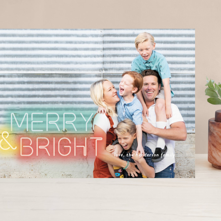 """""""Bright Lights"""" - Modern Grand Holiday Cards in Neon by Simona Camp."""