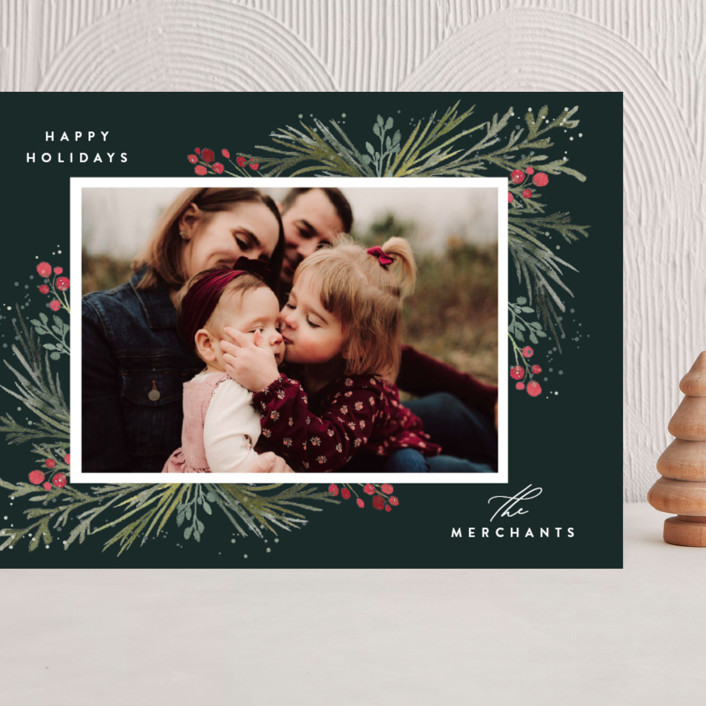 """""""Corner Cascade"""" - Grand Holiday Cards in Evergreen by Jessica Williams."""