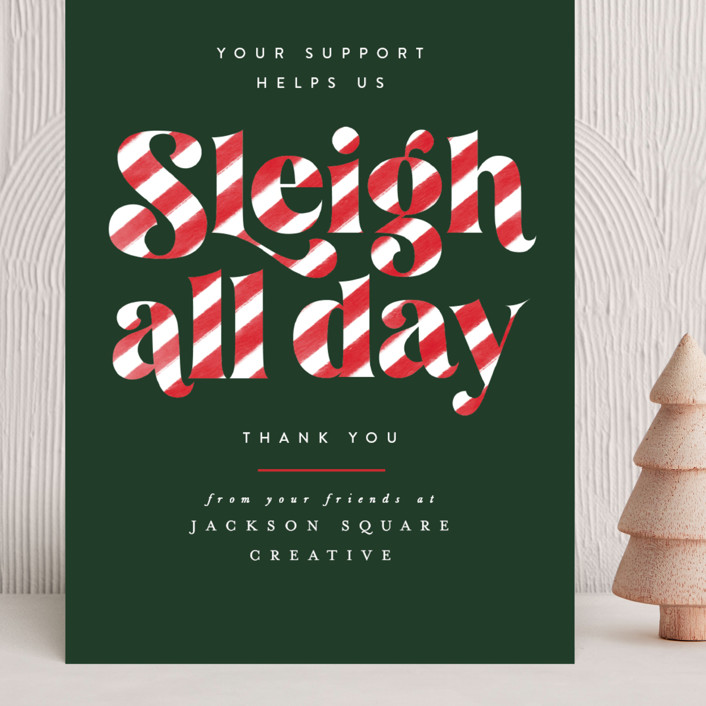"""""""Sleigh All Day"""" - Vintage Grand Holiday Cards in Candy Cane by Ally Madison."""