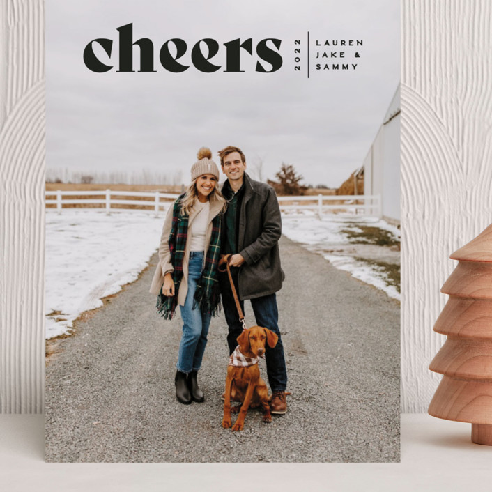 """""""Cheers Bold"""" - Grand Holiday Cards in Raven by Owl and Toad."""