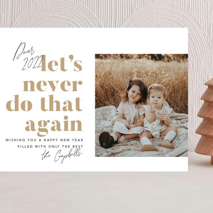 """""""Never Again"""" - Funny Grand Holiday Cards in Snowflake by Robert and Stella."""