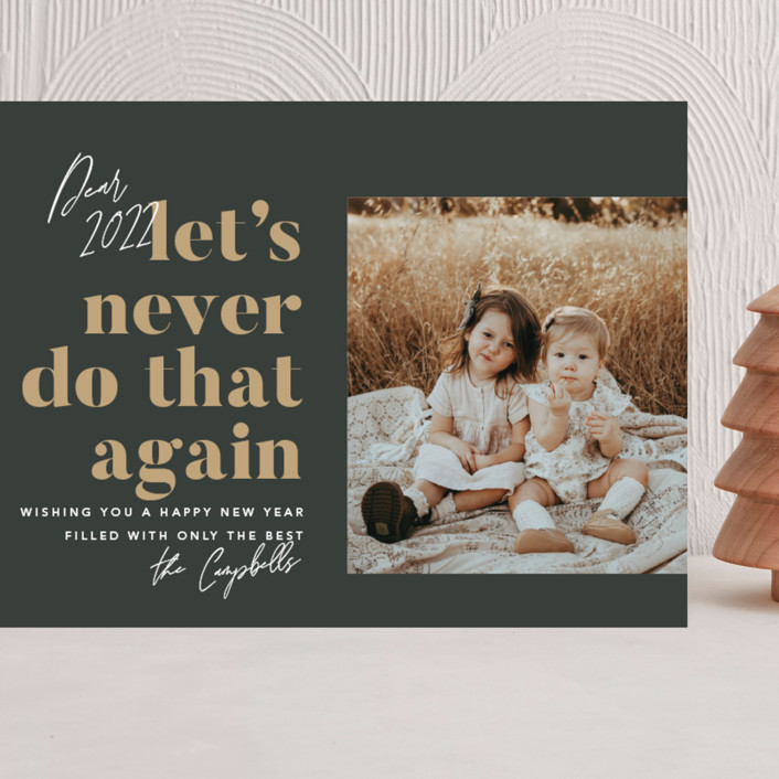 """""""Never Again"""" - Funny Grand Holiday Cards in Charcoal by Robert and Stella."""