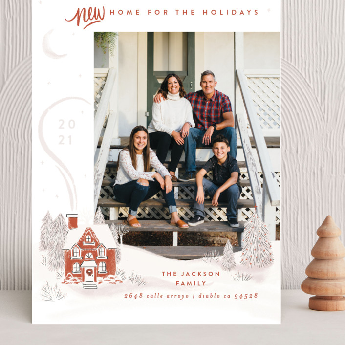 """""""Vintage Cozy Home"""" - Bohemian Grand Holiday Cards in Pumpkin by Shiny Penny Studio."""