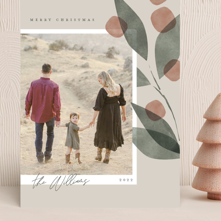 """""""Botanical Branch"""" - Grand Holiday Cards in Cream by Robert and Stella."""