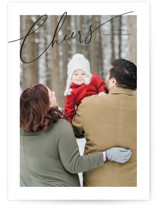 This is a black holiday photo card by Melanie Severin called Sloped Script with standard printing on smooth signature in grand.