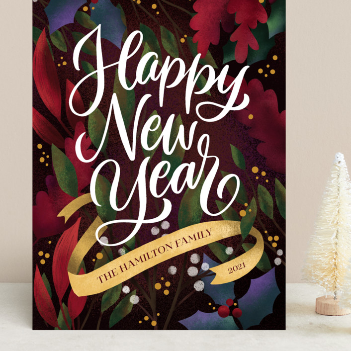 """""""Botanicals"""" - Grand Holiday Cards in Mulled Wine by Laura Bolter."""