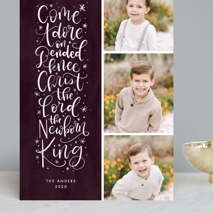 """""""Come Adore On Bended Knee"""" - Grand Holiday Cards in Plum by Amy Payne."""