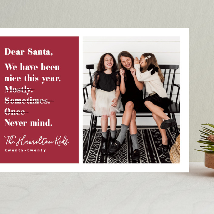 """""""Never mind"""" - Funny Grand Holiday Cards in Berry by Hudson Meet Rose."""