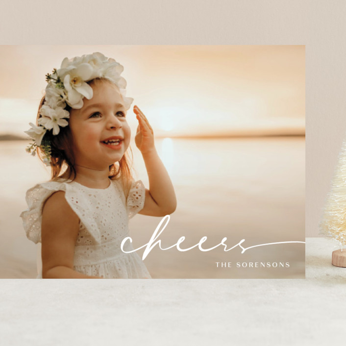 """""""Believe Script"""" - Grand Holiday Cards in Snow by GeekInk Design."""