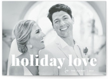 This is a white holiday photo card by Sara Hicks Malone called vintage holiday love with standard printing on smooth signature in grand.
